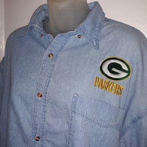 Vintage Green Bay Packers Denim Shirt